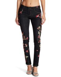 Alice + Olivia - Jane Embroidered Skinny Jeans - Lyst