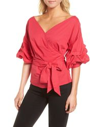 Chelsea28 Wrap Top - Red