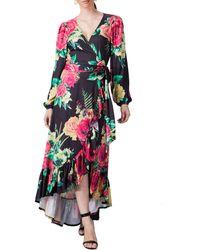 Jealous Tomato - Floral Flounce High/low Hem Dress - Lyst