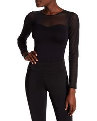 Badgley Mischka Mesh Detailed Bodysuit - Black