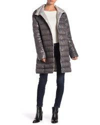 Kenneth Cole - Quilted Funnel Collar Coat - Lyst