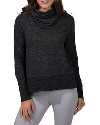 90 Degrees Terry Brushed Long Sleeve Cropped Cow Neck Top - Black