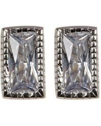 Adornia Sterling Silver Swarovski Crystal Rectangle Cut Studs - Metallic