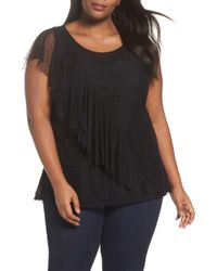 Sejour - Ruffled Dot Mesh Top - Lyst