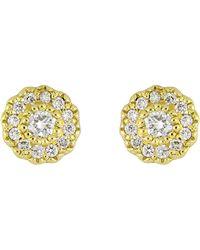 Bony Levy - 18k Yellow Gold Round Flower Diamond Stud Earrings - 0.09 Ctw - Lyst