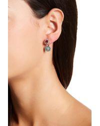 Betsey Johnson - Crystal & Enamel Double Flower Earrings - Lyst