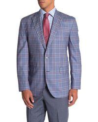 David Donahue Ashton Blue Plaid Two Button Notch Lapel Wool Suit Separates Jacket