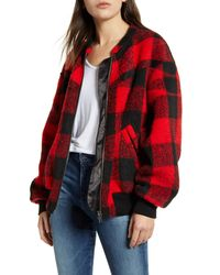 Rebecca Minkoff Brenda Buffalo Check Bomber Jacket - Red