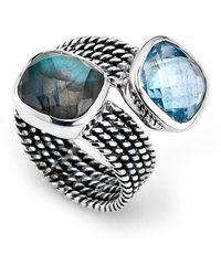 Samuel B. - Sterling Silver Labradorite & Blue Topaz Bypass Ring - Lyst