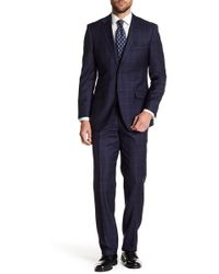 English Laundry - Navy Windowpane Two Button Notch Lapel Wool Suit - Lyst