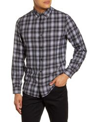 Calibrate Plaid Button-down Flannel Shirt - Black