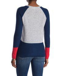 Kinross Cashmere Colorblock Cashmere V-neck Sweater - Blue