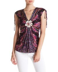 Sky - Halay Floral Embellished Silk Blouse - Lyst