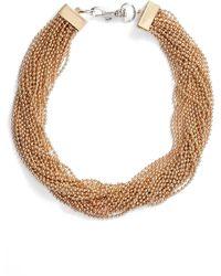 Steve Madden Beaded Interlock Necklace - Metallic