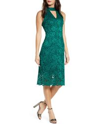 Sam Edelman Keyhole Lace Sheath Dress - Green