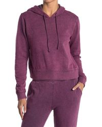 Threads For Thought Rose Mineral Wash Crop Hoodie - Purple