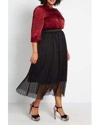 ModCloth Tulle Next Time Pleated Midi Skirt - Black
