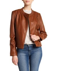 Cole Haan - Ribbed Collar Leather Jacket - Lyst