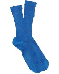 RED Valentino Metallic Knit Crew Socks - Blue