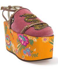 Gucci Hannelore Snake Embellished Floral Platform Mule - Red