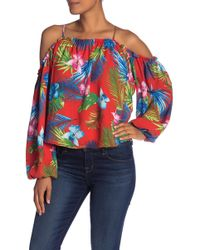 Romeo and Juliet Couture Patterned Cold Shoulder Long Sleeve Blouse - Red