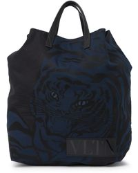 Valentino Tiger Print Tote Bag In Nero At Nordstrom Rack - Black