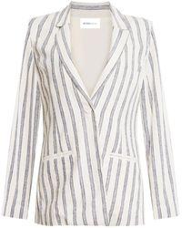 BCBGeneration Stripe Linen Blend Blazer - White