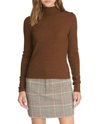 Sanctuary Buttoned Mock Neck Long Sleeve Shirt - Brown