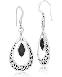 Lois Hill - Sterling Silver Bezel Set Onyx Filigree Teardrop Earrings - Lyst