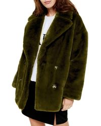 TOPSHOP Faux Fur Double Breasted Coat - Green