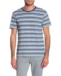 Wallin & Bros. Short Sleeve Stripe Knit T-shirt - Blue