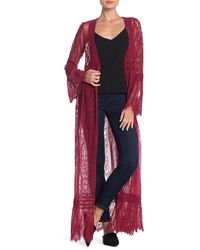Band Of Gypsies Bell Sleeve Lace Duster - Red