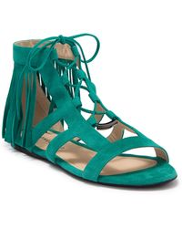Longchamp Suede Lace-up Gladiator Sandal - Green