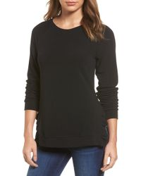 Pleione Ruffle Trim Sweatshirt (regular & Petite) - Black