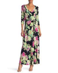 West Kei Floral 3/4 Length Sleeve Maxi Dress - Green