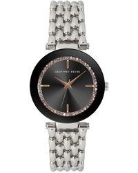 Geoffrey Beene Women's Crystal Bezel Bracelet Watch - Metallic