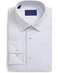 David Donahue Regular Fit Tasttersall Dress Shirt - Blue