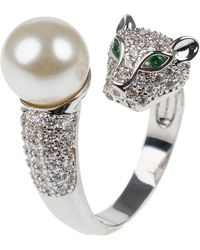 CZ by Kenneth Jay Lane - Cz & Glass Pearl Panther Wrap Ring - Lyst