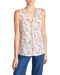 B Collection By Bobeau - Lily Pleated Back Floral Print Tank Top - Lyst