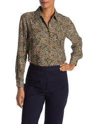 Pleione Patterned Long Sleeve Blouse - Multicolor