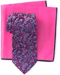 Ted Baker Silk Tonal Cluster Flower Tie & Pocket Square Set - Pink