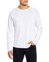 Vince Long Sleeve Linen T-shirt - White