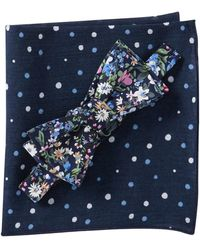 Original Penguin Stockle Floral Bow Tie & Pocket Square Set - Blue