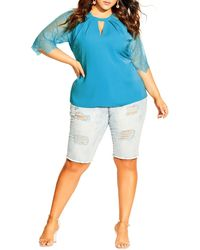 City Chic Top Short Lace Sleeve Top - Blue