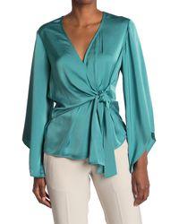 Ramy Brook Cassandra Bell Sleeve Wrap Blouse - Blue