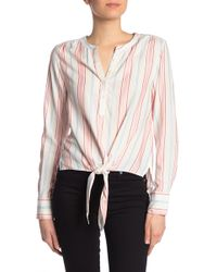 152d44ae2f725f C&C California - Striped Tie Front Long Sleeve Tee - Lyst