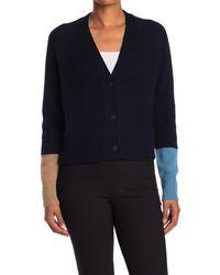 360cashmere Elsa Colorblock Button Front Cashmere Cardigan - Blue
