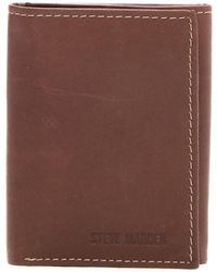 Steve Madden - Antique Leather Tri-fold Wallet - Lyst