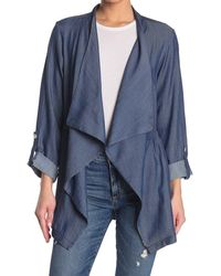 Nanette Lepore Long Sleeve Drape Collar Lightweight Jacket - Blue