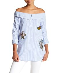 Romeo and Juliet Couture - Off-the-shoulder Collared Patch Blouse - Lyst